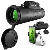Newseego 50x60 Telescopio Monoculare con Adattatore e Treppiede, Canocchiale Monoculare, BAK4 Prism Dual Focus Monocolo Professionale Potente Monoculare per Il Birdwatching, Campeggio, Caccia