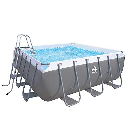 Jilong eckiger XL Familien Pool Grau 3x3x1m Stahlrahmen Schwimmbecken Schwimmbad + Sandfilterpumpe + Leiter, 744