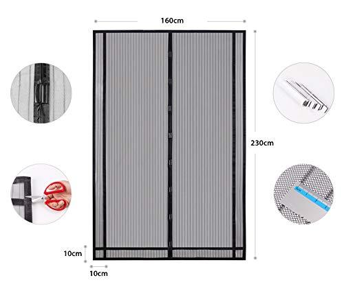Sekey 230x160 cm Cortina Mosquitera magnética para la protección contra Insectos,  el mosquitera magnético Ideal para Puerta de balcón,  Puerta de terraza (se Puede Cortar en Altura y Ancho),  Negro
