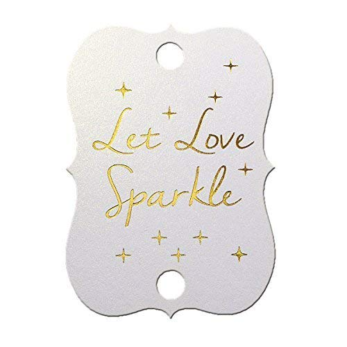 """Summer-Ray 50 Etiketten für Wunderkerzen, schimmernde weiße Goldfolie, heiß gedruckt, Hochzeit, Aufschrift: """"Let Love Sparkle"""""""