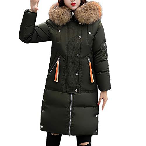 Damen Winterjacke Lang Parka Warm Pelzkragen Parkajacke MYMYG Frau Winter Warm Faux Pelzmantel Kapuzen Dicke Warme Dünne Lange Jacke Mantel(Grau,EU:42/CN-XL)