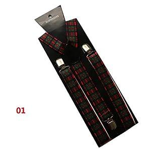 JUWOJIA Männer Wild Fashion Schottischen Plaid Drucken DREI Clips Hosenträger Mit Schultergurt (2,5 cm Breit)