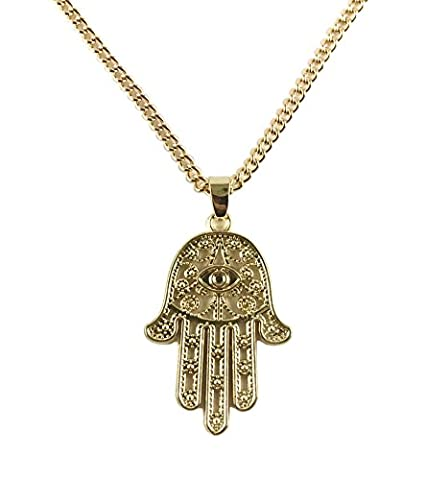 GOOD.designs Damen - Halskette mit Hand der Fatima (Hamsa) Anhänger, hand of fatima in Gold, Silber oder Roségold (Gold)