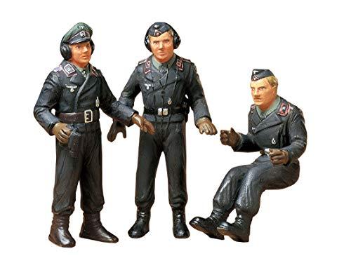 TAMIYA 35001 35001-1:35 Figuren-Set Deutsche Panzerbesatzung (3), Modellbau, Plastik Bausatz, unlackiert