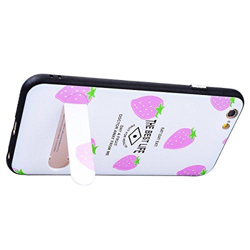 SMART LEGEND iPhone 6S Plus Hardcase iPhone 6 Plus Hülle mit Standfunktion Schutzhülle mit Frucht Obst Muster Shiny Tasche Skin Schale Hart PC Backcover Case für iPhone 6 Plus/iPhone 6S Plus Hartschal Lila Erdbeere