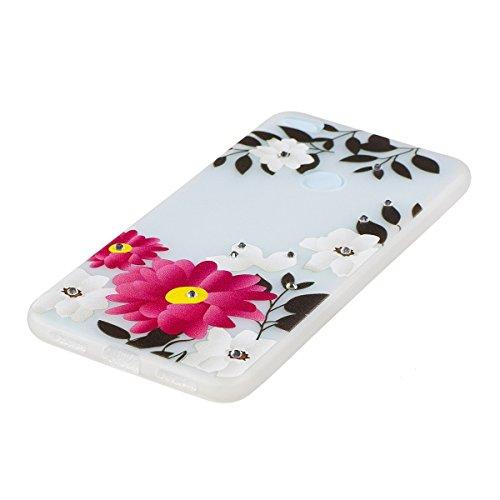 ISAKEN Custodia Cover per Huawei P8 Lite 2017 - Fashion Agganciabile Luminosa Custodia con LED Lampeggiante PU Pelle Portafoglio Tinta Unita Cover Caso per Huawei P8 Lite 2017, Luxury Protettivo Skin  fiori rossa