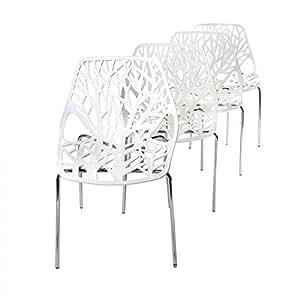 MY SIT Chaise Design Caluna Ensemble de 4 Blanc