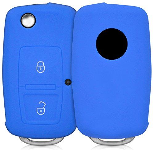 kwmobile Accessoire clé de voiture pour VW Skoda Seat - Coque pour clef de voiture pliable VW Skoda Seat 2-Bouton en silicone bleu - Étui de protection souple