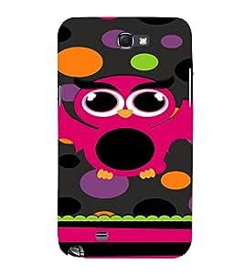 PrintVisa Cute Girly Owl Design 3D Hard Polycarbonate Designer Back Case Cover for Samsung Galaxy Note 2