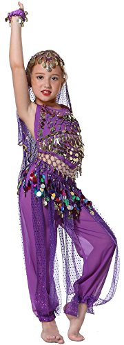 Lila Mädchens Faschings-Kostüm Indische Bauchtanzkostüme Hose Oberteil für Kinder 152-164
