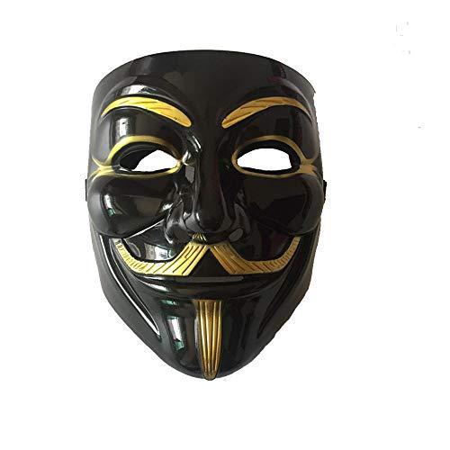 Kostüm V Vendetta - Fliyeong V Vendetta Maske Kostüm Halloween Maske Kostüm Erwachsene Kostüm Zubehör für Geschenke Kostüm Parteien Halloween Ect 1 Pcs Schwarz
