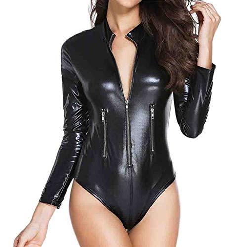 LIUXXD Damen Wetlook Leder Bodysuit Brust Harness PU Leder Halsband mit Kette Erotik String Body Unterwäsche,L - Patent-korsett-kleid