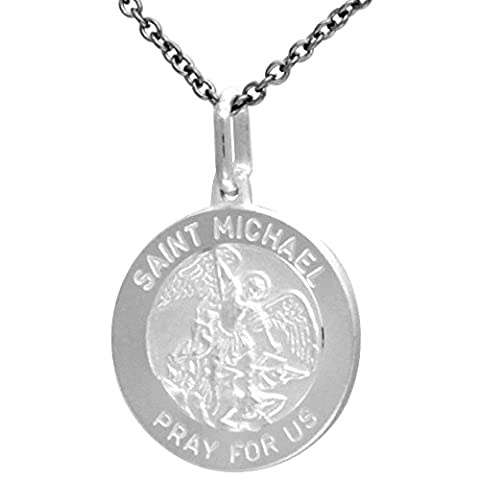 Sterling Silver St. Michael Medal 11/16 in. (18mm) Round.
