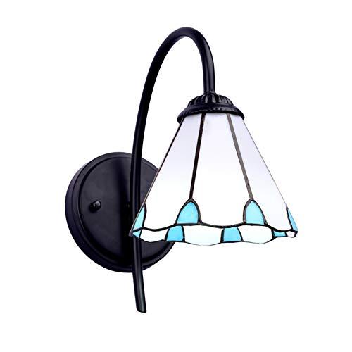 E27 Tiffany stil Wandlampe, Dimmbar Glasmalerei Einkopf Wandleuchte Wandhalterung Led spiegelleuchte...