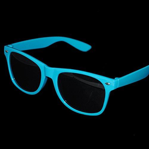 Blau Herren Damen Wayfarer Aviator Stil Sonnenbrille Neon 80er Retro Fashion Shades uv42