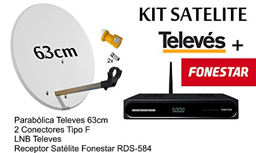 KIT FONESTAR RECEPTOR SATELITE RDS-584WHD+ KIT PARABOLICA TELEVES 63cm Y...