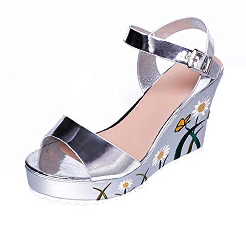 Sandales pour femme, Clode® Femmes Gilrs dété Imprimé fleurs haut talons PU Cuir Haut Talon plate-forme Wedge Sandales Chaussures Silver