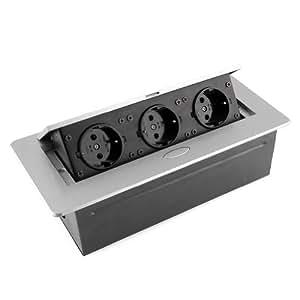 Mvpower prise de sol encastrable prise de courant 3 bloc 2p t platinum pour sol ou plan de - Prise de courant pour plan de travail cuisine ...