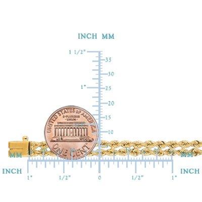 jewelryaffairs Double Bracelet en chaîne torsadée en or jaune 14K-5mm-Largeur: 17,8cm 20,3cm Longueur