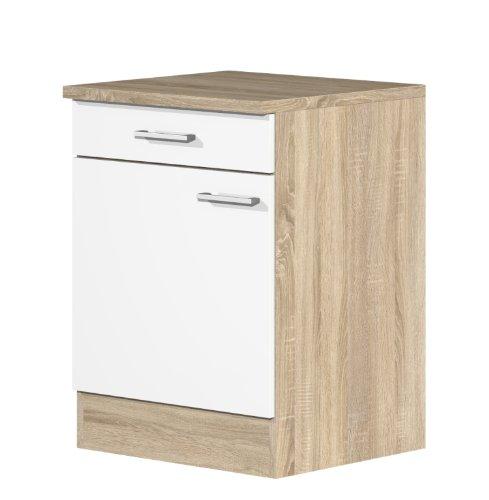 smartmoebel Küchen Unterschrank 60 cm breit Weiß Sonoma Eiche - Salerno