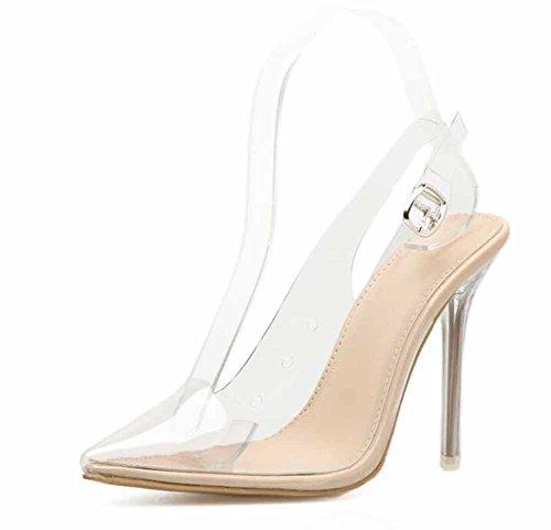 Frauen Transparent Pumps Frühling Sommer Neue Spitzen Charming Sandalen Kristall Transparent High Heels Schuhe ( Color : Beige , Größe : 39 )