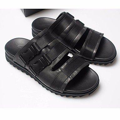 Stivali inverno delle donnePU piuma casuale zeppa, sandali neri, US8 / EU40 / UK7 / CN41 sandali US11.5 / EU45 / UK10.5 / CN47