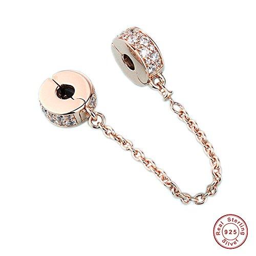 Mocci autumn glamour trio in oro rosa catena di sicurezza in argento sterling 925 fai da te adatto per gioielli originali bracciali pandora donne
