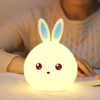 Colorido Conejo Lindo Dormitorio De Silicona Lámpara De Cabecera Control Remoto De Carga Luz Nocturna Creativo Ayuda Para El Sueño Lámpara De Ambiente Azul Control Remoto