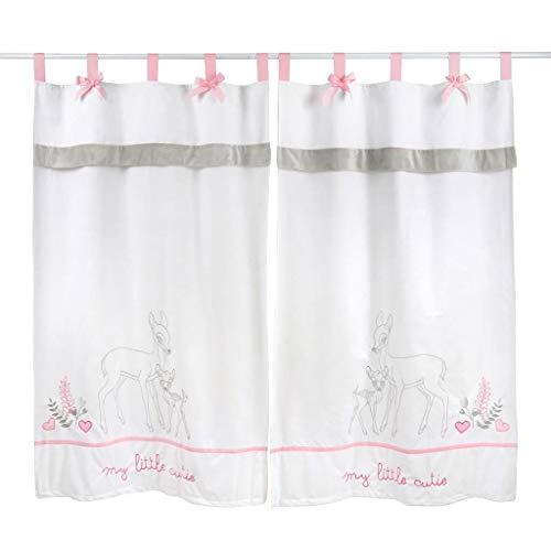 Tab-top-panel (Kids Nursery Dearest Pink Bambi Gardinen With Matching Tie Back Tab Top 2 Panels)