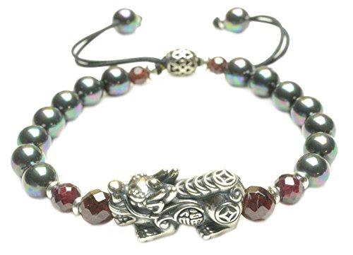 terling Silber Pi Shou Tiger Perle Amulett Armband - Fortune-Feng Shui Jade Schmuck (Chinesische Armbänder)