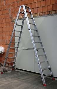 Alu-Profi-Doppelleiter 2x12 Stufen/Sprossen, 329x82x23cm, Aluminium, Marke: Szagato (Stehleiter, Anlegeleiter, Aluleiter, Kombileiter, Leiter)