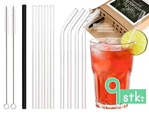 Ecoroyal® Glas Strohhalm Wiederverwendbare Trinkhalme Transparent Strohhalm Glas Spülmaschinenfest - 9 Stück+2 plastikfreie Reinigungsbürsten