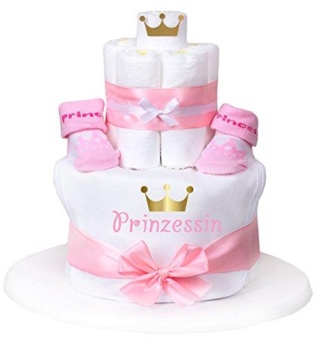 """Windeltorte Mädchen rosa """"Prinzessin mit goldener Krone"""" 1x weißes Lätzchen,1x Babysocken + Grußkarte  Geschenk Geburt"""