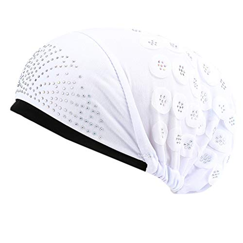 WUDUBE Femme Inde Chapeau Musulman  Respirant Turban ÉLastique Unicolore Mode Chic Vintage Bonnet Echarpe Chaud pour Perte De Cheveux