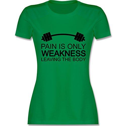 CrossFit & Workout - Pain is only weakness leaving the body - tailliertes Premium T-Shirt mit Rundhalsausschnitt für Damen Grün