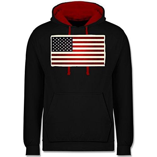 Kontinente - Flagge USA - Kontrast Hoodie Schwarz/Rot