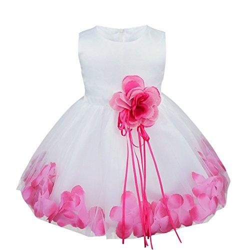 Freebily Vestido de Princesa Bautizo Cumpleaños Vestido Infantil Elegante Pétalos de Flores para Bebé Niña (3 a 24 meses) Rosa 18-24 Meses