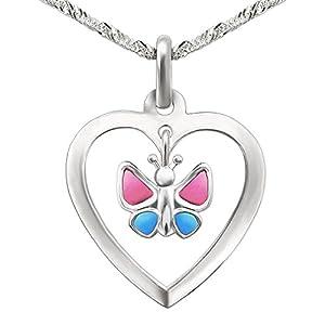 CLEVER SCHMUCK Set Silberner Herz Anhänger 15 mm mit Einhänger Schmetterling rosa blau und Kette Singapur 40 cm Sterling Silber 925