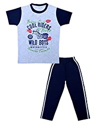 Little Stars Boys Regular Fit Pyjama and T-Shirt Set (Leo_Btbs_0006_32-7-8 Years, Grey, 7-8 Years)
