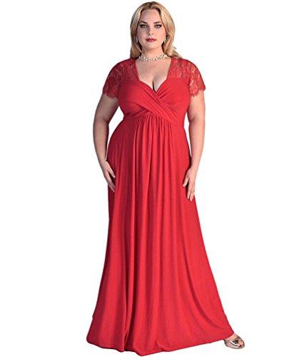 Chengyang donna manica corta pizzo ricamato giuntura a pieghe lunghe eleganti abito da sera vestito rosso xxx-large