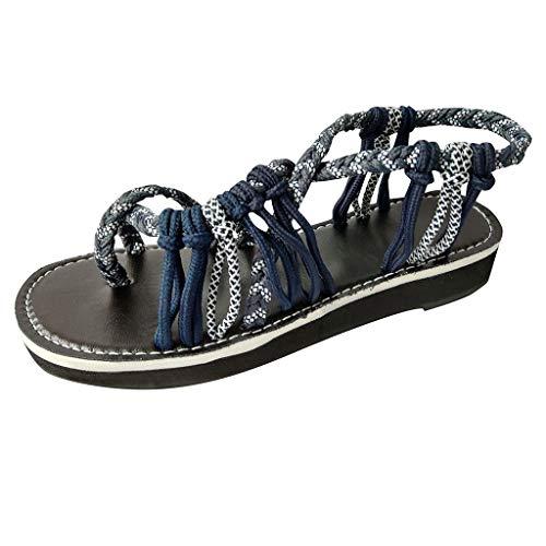 Kinlene Sandalias Zapatillas Zapatos de tacón Sandalias del Vendaje de Roma de la Moda del Verano de Las Mujeres Peep Toe Sandalias de Playa Planas Ocasionales(Azul Oscuro,37)