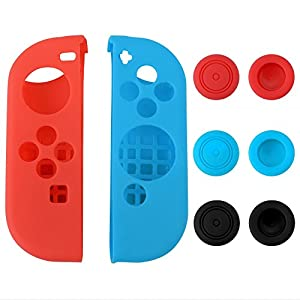 eXtremeRate Silikonhülle Daumen-Stick-Kappen für Nintendo Switch Joy-Con Controller Protector Protection Kits Links Rot…