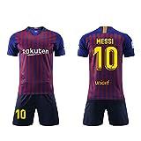 2a6c1e6c95d94 Daoseng Camiseta Jersey Futbol Barcelona 2018-2019 Traje de Hombres Adultos  Uniforme de Futbol Manga Corta + Pantalones Cortos (10 Azul