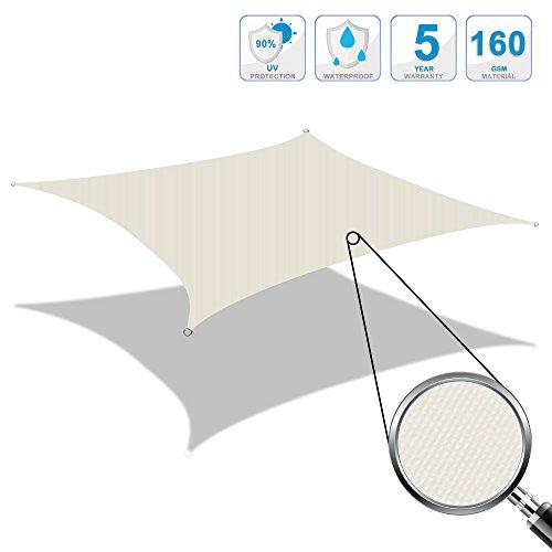 Cool area tenda a vela impermeabile quadrata 4 x 4 metri protezione raggi uv (crema)