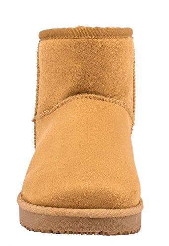 Elara Damen Boots   Bequeme Winter Stiefeletten   Warm Gefüttert Profilsohle Wildlederoptik Camel