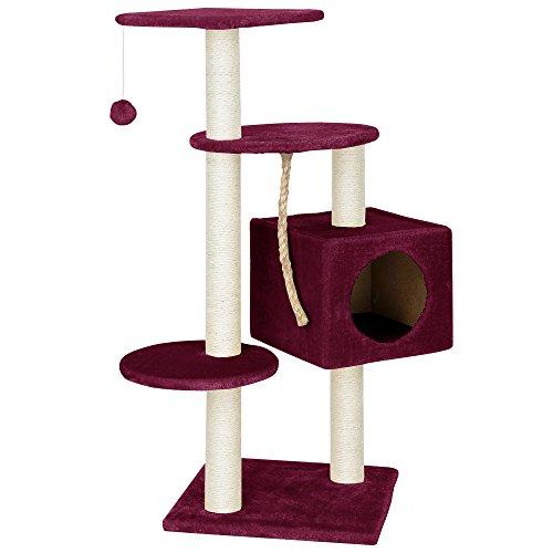 [en.casa] Rascador Para Gatos Árbol Para Gatos Trepar Sisal Juguetes - 40x40x113cm - rojo