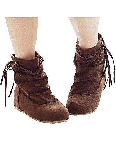 Minetom Damen Herbst Und Winter Fringed Stiefel Nubukleder Stiefeletten Flache Schuhe Brau