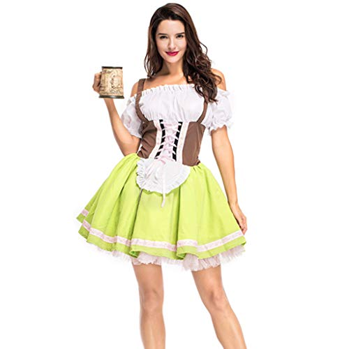 Kostüm Kleid Nationales - zijianZZJ 2 Teile/Satz Oktoberfest Dame Frauen Kleid Band Set, Nationalen Traditionellen Kostüm Karneval Halloween Kellnerin Rollenspiele Arbeitskleidung