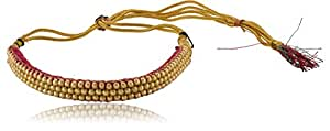 Naanjil Red & Gold Thread Choker Jewellery Necklace for Women (NS00123)