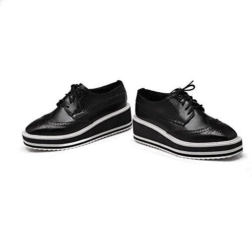 AgooLar Femme Lacet à Talon Correct Pu Cuir Couleur Unie Carré Chaussures Légeres Noir
